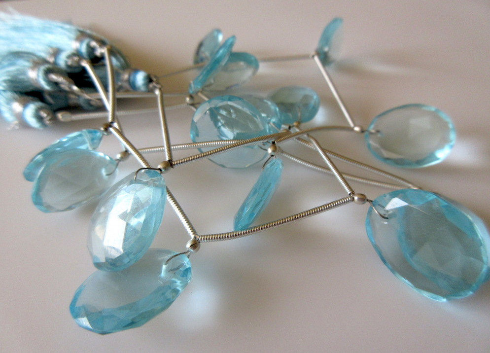 5 Pieces 15mm to 18mm Hydro Quartz Swiss Blue Topaz Color Front Drilled Faceted Flat Back Rose Cut Loose Cabochons RR131