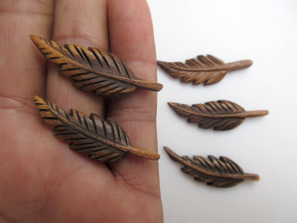 Hand Carved Wooden Feathers