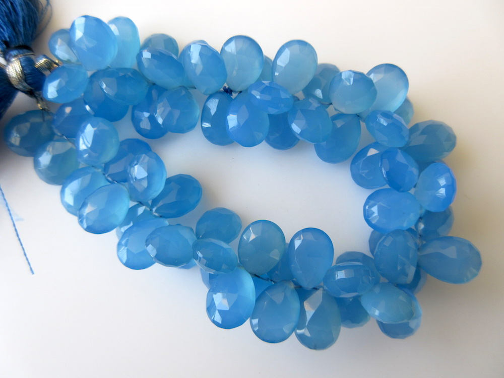 100/% Natural Blue ChalcedonyFaceted Pear BriolettesDrops Briolettes@DSC01375