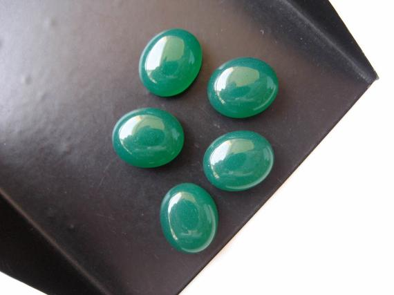 Calibrated 9x18mm Each Smooth Flat Back Gemstones Cabochon 5 Pieces Green Onyx Oval Capsule Shaped Cabochons BB227